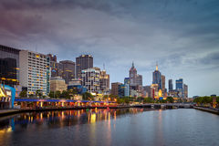 Melbourne city and Yarra river at night Stock Photo