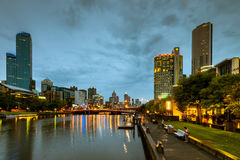 Melbourne city and Yarra river at night Stock Photos