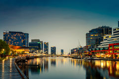 Melbourne city and Yarra river at night Royalty Free Stock Images