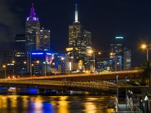Melbourne City and Yarra River at Night. AUSTRALIA, MELBOURNE - January 31, 2015: Melbourne City and Yarra River at Night Stock Images