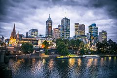 Melbourne city and the Yarra river at night. Royalty Free Stock Photos