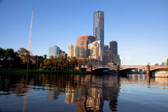 Melbourne City and Yarra River at Sunrise stock images