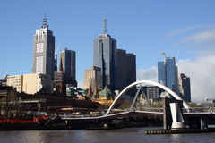 Melbourne Cityscape. Shot of Melbourne cityscape with bridge in forground Stock Image