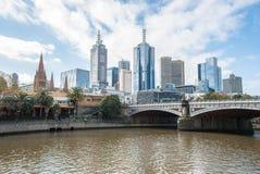 Melbourne cityscape av det Victoria tillståndet, Australien Arkivfoto