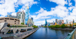 Melbourne cityscape. Melbourne city central scenery with many famous buildings and skyscrapers (Eureka Tower, HWT, IBM, Crown...) from the Yarra River. Melbourne stock image