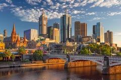 Melbourne. Cityscape image of Melbourne, Australia during summer sunrise Stock Photo