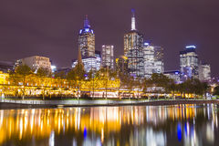 Melbourne cityscape at night Stock Photos