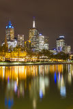 Melbourne cityscape at night Stock Images