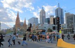 Melbourne cityscape tram Australia Stock Photo