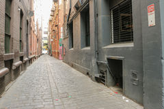Melbourne cobble-stoned laneway. One of Melbournes many hidden cobble-stoned laneways stock photo