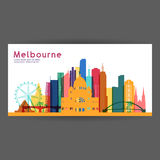 Melbourne colorful architecture vector illustration Royalty Free Stock Photos