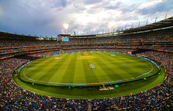 Melbourne cricket ground MCG view from stand under floodlights Royalty Free Stock Photo