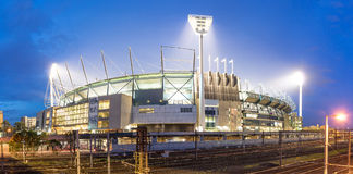 The Melbourne Cricket Groud. The Melbourne Cricket Ground in Victoria, Australia at night. The MCG is the largest stadium in Australia Royalty Free Stock Image