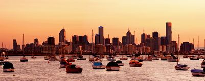 Melbourne Dawn. Dawn over Melbourne, Australia, viewed from Williamstown stock image
