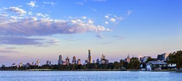 Melbourne Dawn Panorama. Panorama of Melbourne, Australia, at dawn.  View over Albert Park Lake Stock Images