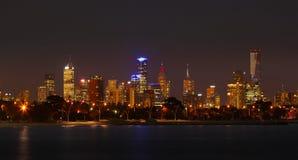 Melbourne de Night Fotografía de archivo