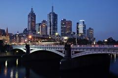 Melbourne de Night Fotos de archivo