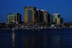 Melbourne dock lands precinct skyline after sunset Royalty Free Stock Photos