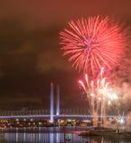 Melbourne Docklands Fireworks. Fireworks on Victoria Harbour with Bolte Bridge, Melbourne Royalty Free Stock Images