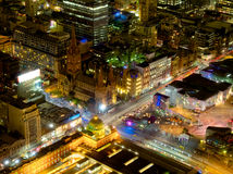 Melbourne ed il suo quadrato di federazione della città Fotografia Stock