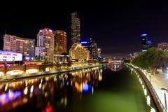 Melbourne em Noite Imagens de Stock Royalty Free