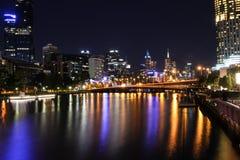 Melbourne em Noite Foto de Stock Royalty Free