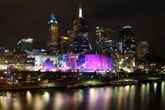 Melbourne en la noche Fotografía de archivo
