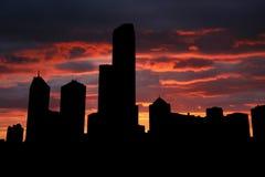 Melbourne en la puesta del sol Imágenes de archivo libres de regalías