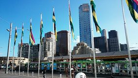 Melbourne Federation Square. Different national flags on Melbourne Federation Square, Australia royalty free stock image