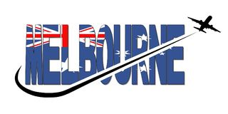 Melbourne flag text with plane and swoosh illustration Royalty Free Stock Images