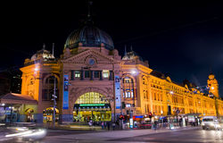 Melbourne: Flinders station at night Royalty Free Stock Images