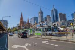 Melbourne Flinders tramwaju Uliczna stacja Fotografia Royalty Free