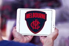 Melbourne Football Club logo. Logo of Melbourne Football Club on samsung tablet. The Melbourne Football Club, nicknamed the Demons, is a professional Australian Stock Image