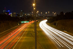 Melbourne freeway at night slow shutter Stock Image