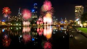 Melbourne fyrverkerier Royaltyfri Bild
