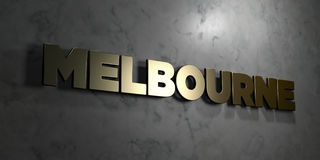 Melbourne - Gold sign mounted on glossy marble wall  - 3D rendered royalty free stock illustration Stock Photography