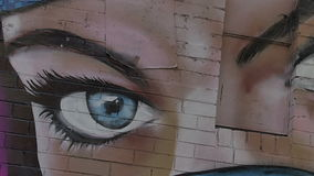Melbourne graffiti blue eyes stock video footage