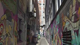 Melbourne graffiti dead end street stock video footage