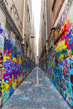 Melbourne graffiti in narrow alley Royalty Free Stock Image