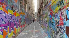 Melbourne graffiti in narrow alley stock video footage