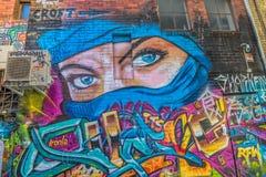 Melbourne graffiti niebieskich oczu kobiety Obrazy Royalty Free