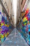 Melbourne grafitti i smal gränd Royaltyfri Bild