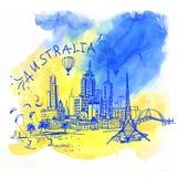 Melbourne horisont Australien Arkivbild