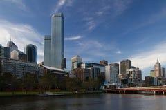 Melbourne horisontsikt från Southbank Arkivbilder