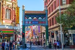 Melbourne kineskvarterbågar Arkivfoto