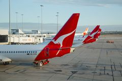 Aircrafts of Qantas. Melbourne - MARCH 15: Aircrafts of the Qantas fleet at Melbourne Airport March 15th, 2014. Qantas is Australia`s largest airline Royalty Free Stock Images