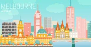 Melbourne miasta płaska wektorowa ilustracja Zdjęcia Royalty Free