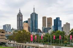 Melbourne miasta widok na dżdżystej pogodzie Obrazy Stock