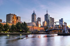 Melbourne Morning. Melbourne, Australia, in early morning light.  Yarra River, towards Flinders Street Station Stock Images