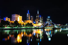 Melbourne nachts Lizenzfreie Stockfotos